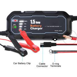 12V Car Battery Charger, 1.5A, 220V Input