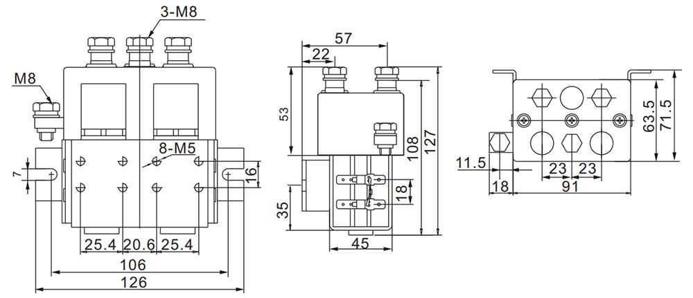 DC Reversing Contactor Installation Diagram
